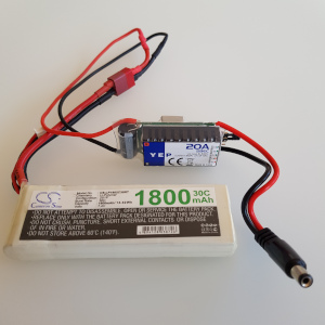1800mAh 7.4V LiPo and bucket converter and barrel connector for the Omnibot 5402